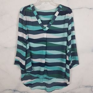 Teal & Turquoise Striped Tunic Top